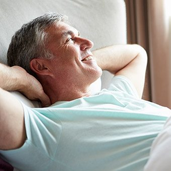 Man waking feeling rested